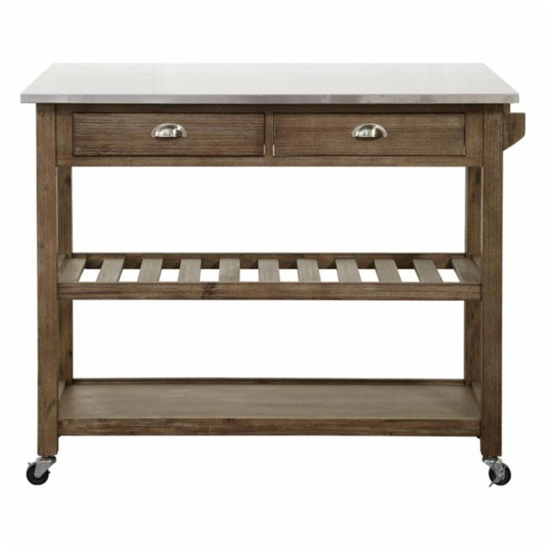 Drop Leaf Wood Kitchen Cart - image-1