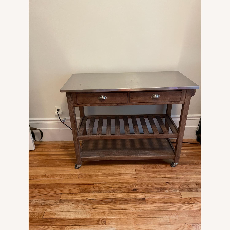 Drop Leaf Wood Kitchen Cart - image-8