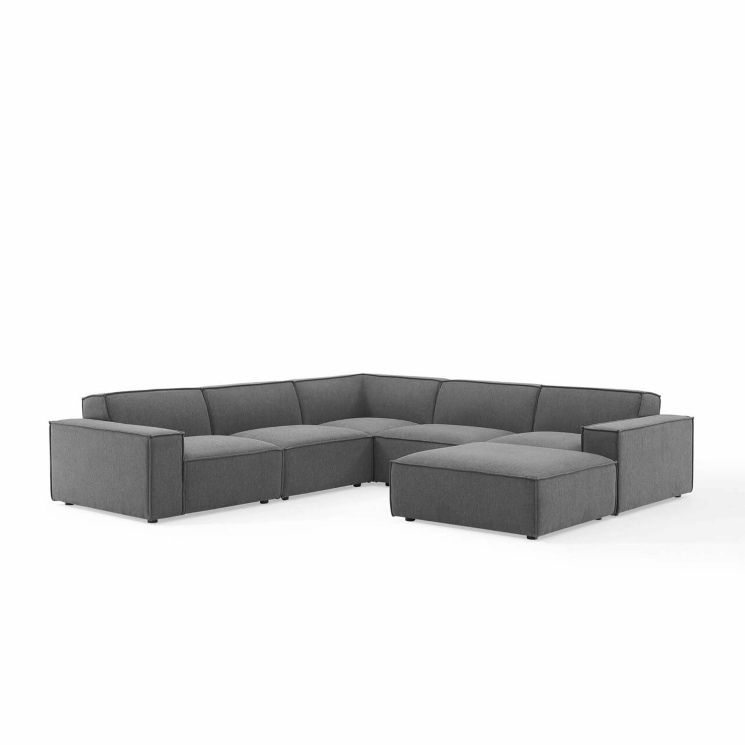6-Piece Sectional Sofa In Charcoal Fabric - image-0