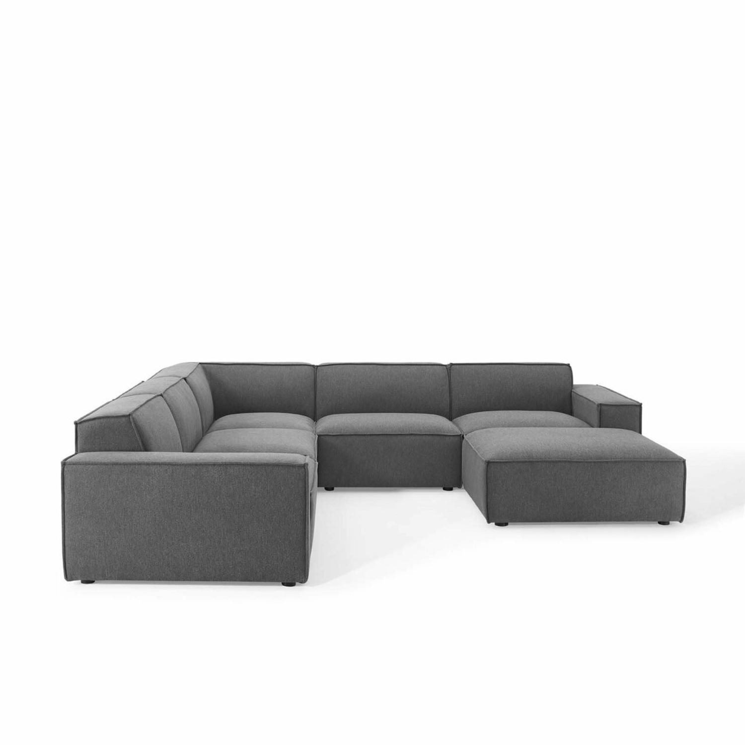6-Piece Sectional Sofa In Charcoal Fabric - image-1