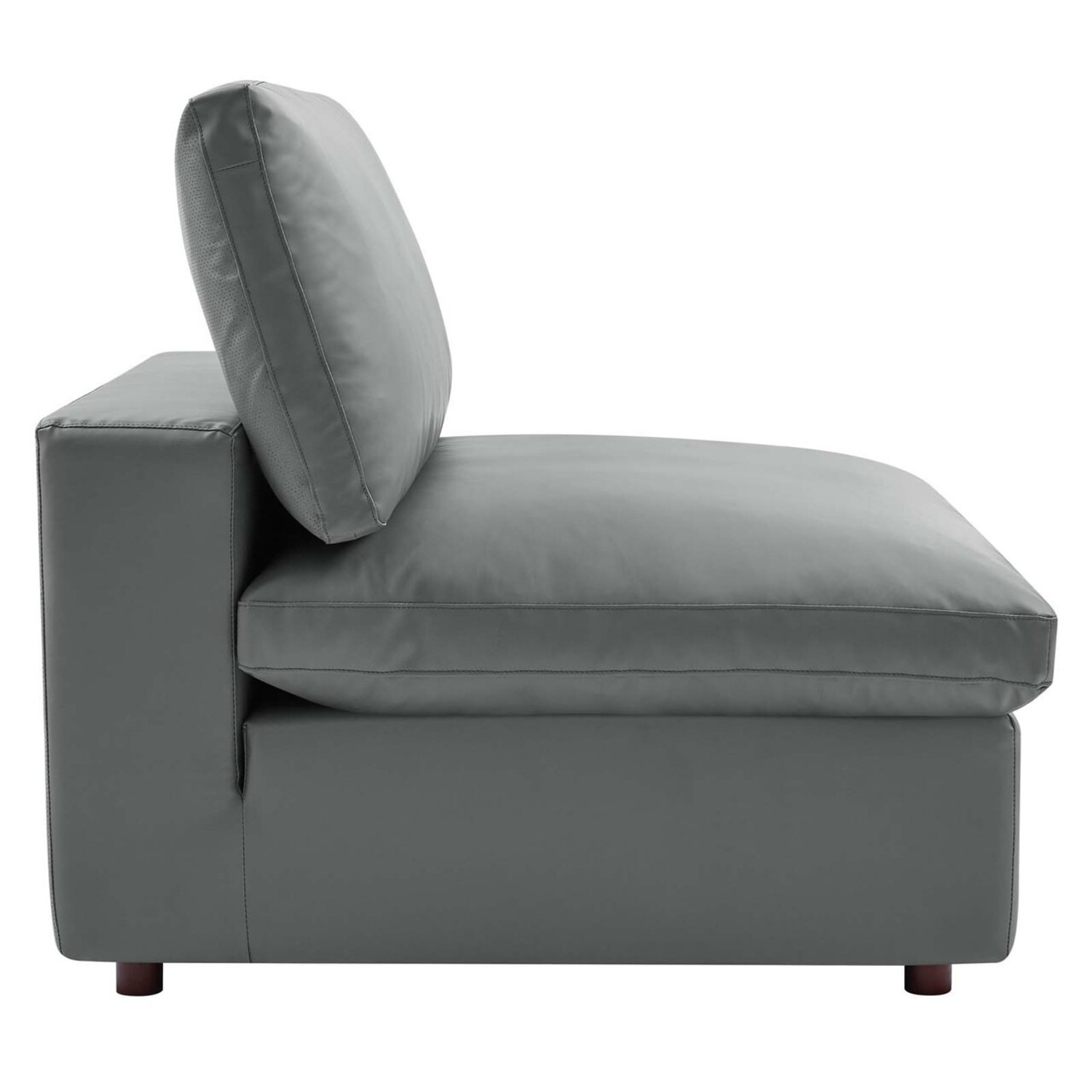 8-Piece Sectional Sofa In Gray Vegan Leather - image-3