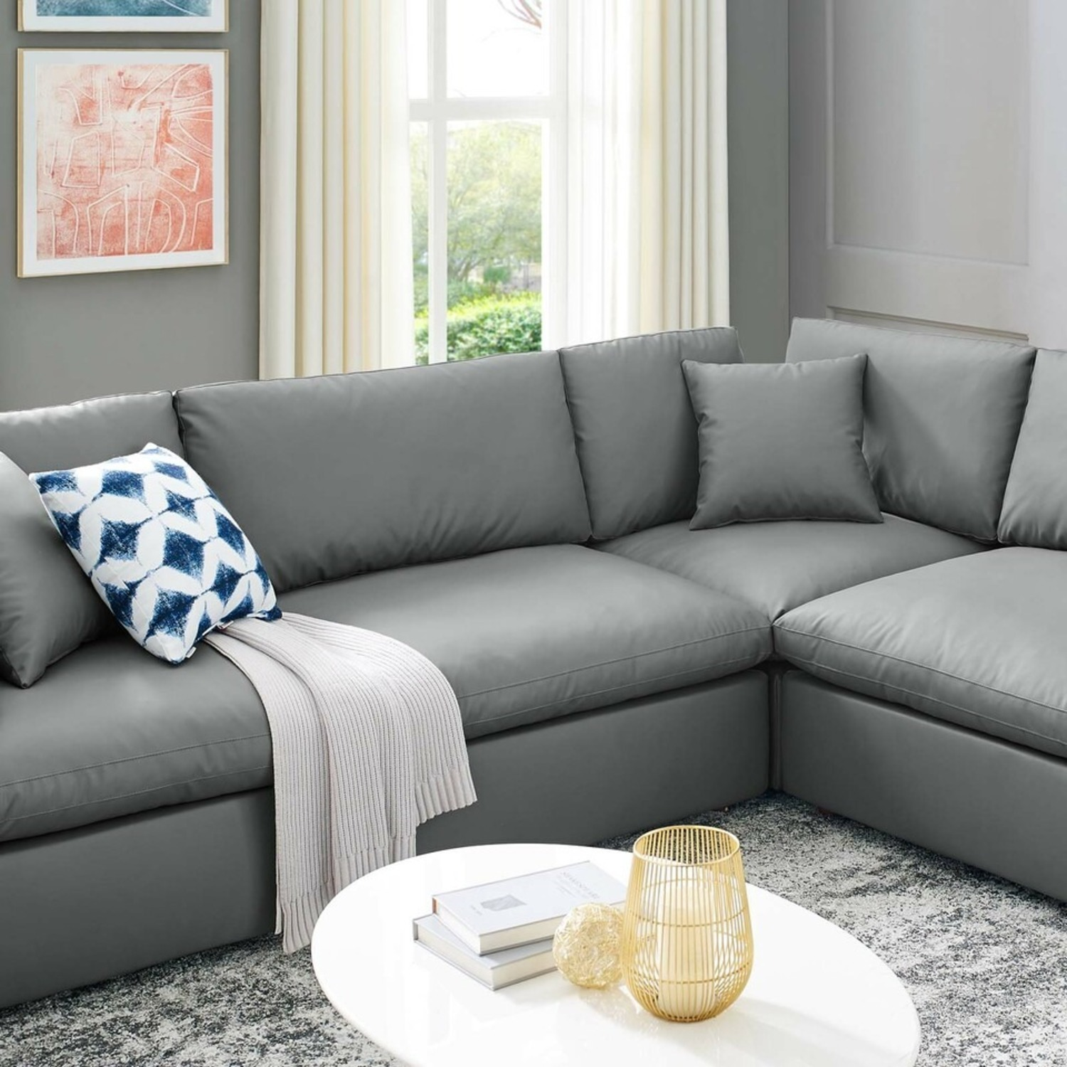 8-Piece Sectional Sofa In Gray Vegan Leather - image-8