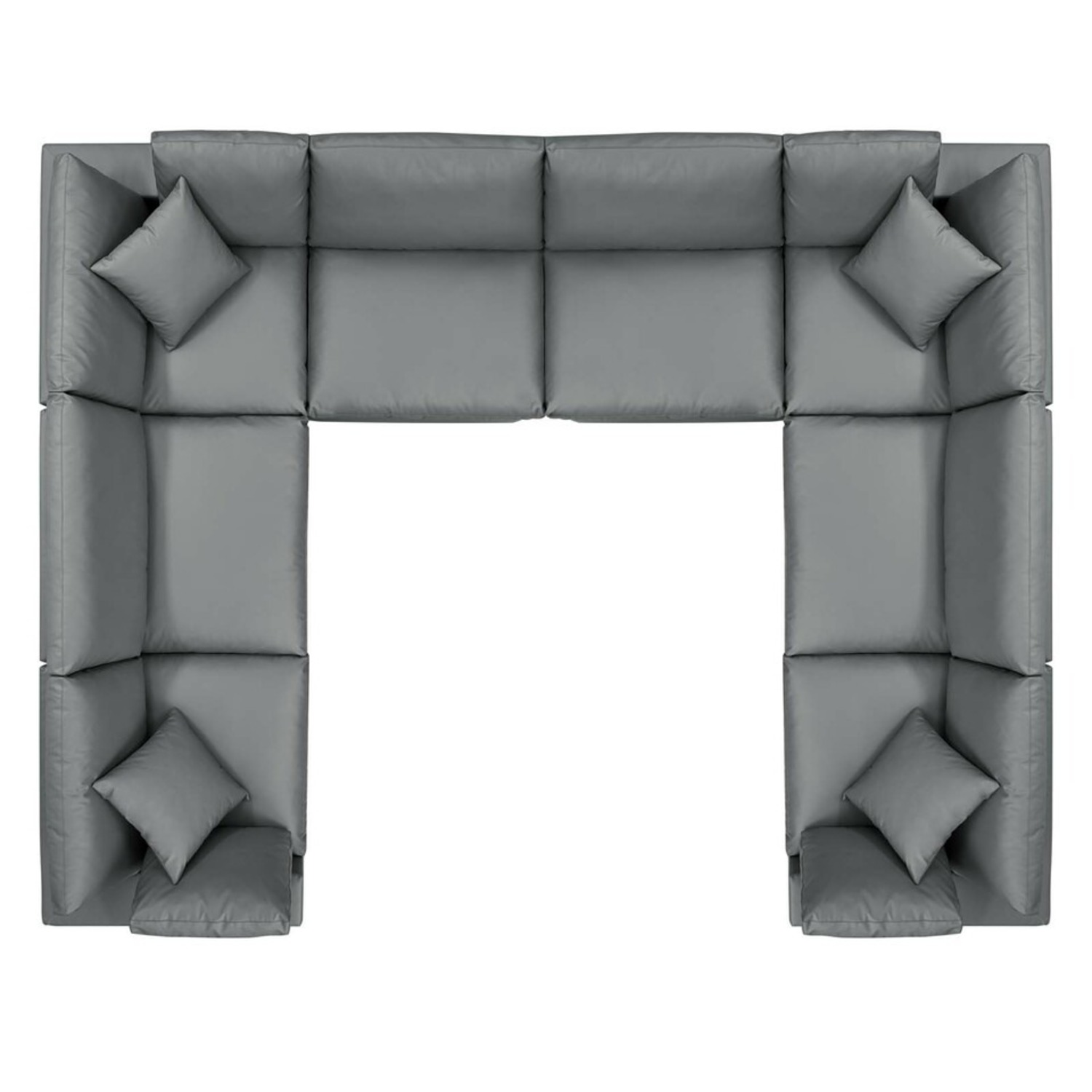 8-Piece Sectional Sofa In Gray Vegan Leather - image-1