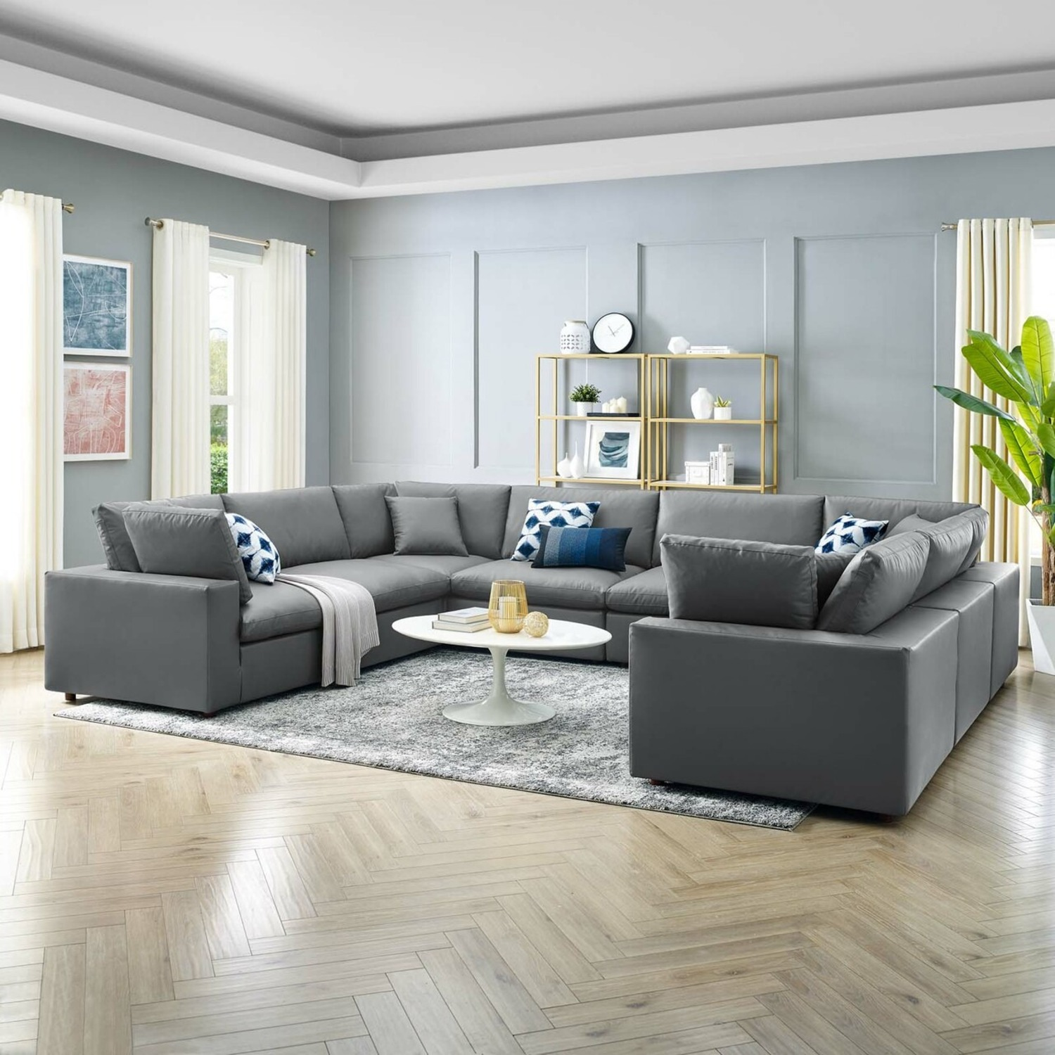 8-Piece Sectional Sofa In Gray Vegan Leather - image-9