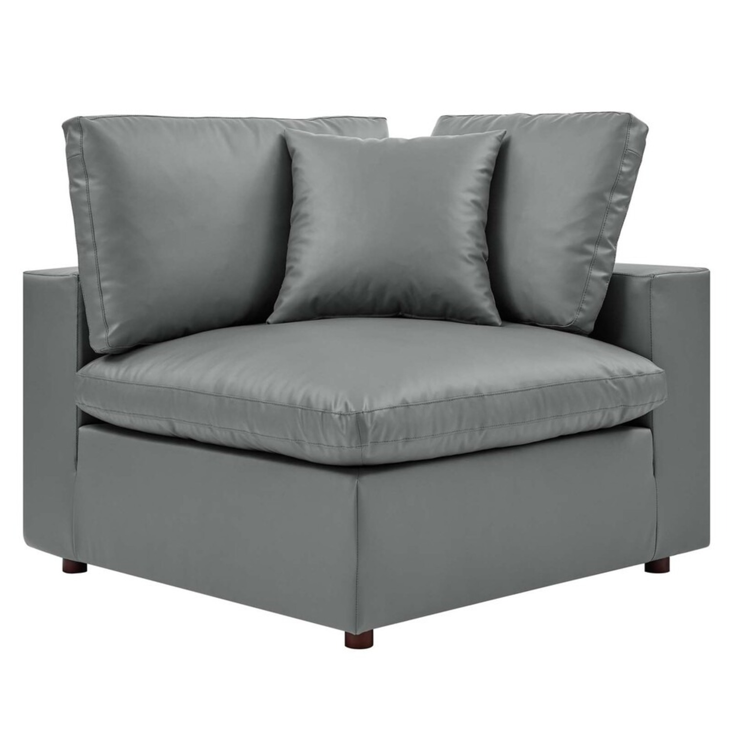 8-Piece Sectional Sofa In Gray Vegan Leather - image-5