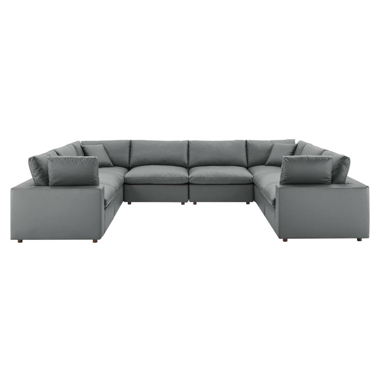 8-Piece Sectional Sofa In Gray Vegan Leather - image-0