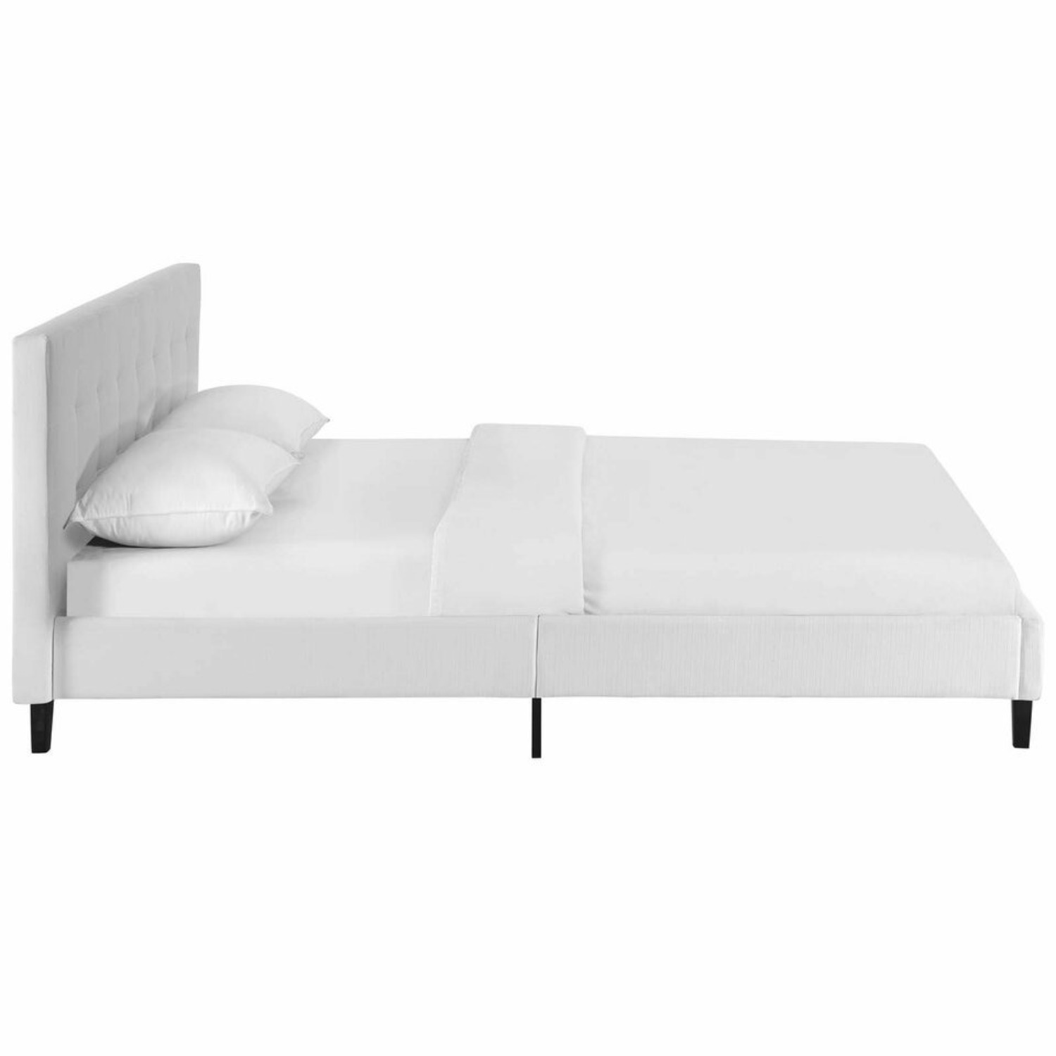 Full Bed In White Fabric Base & Tufted Headboard - image-2