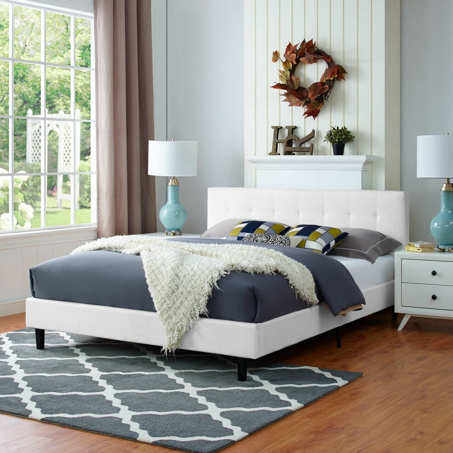 Full Bed In White Fabric Base & Tufted Headboard - image-4