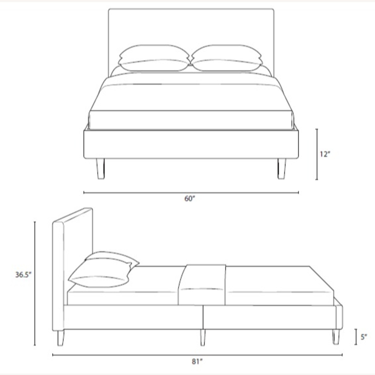 Full Bed In White Fabric Base & Tufted Headboard - image-5