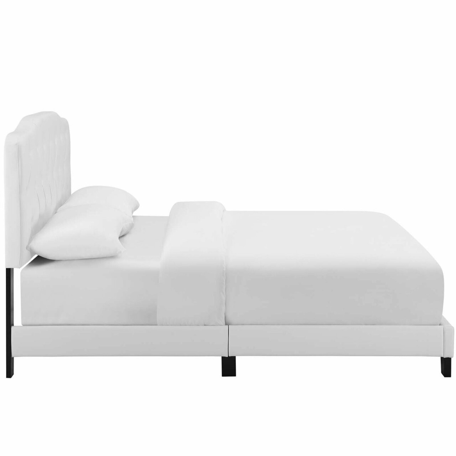 Full Bed In White Button-Tufted Faux Leather - image-2
