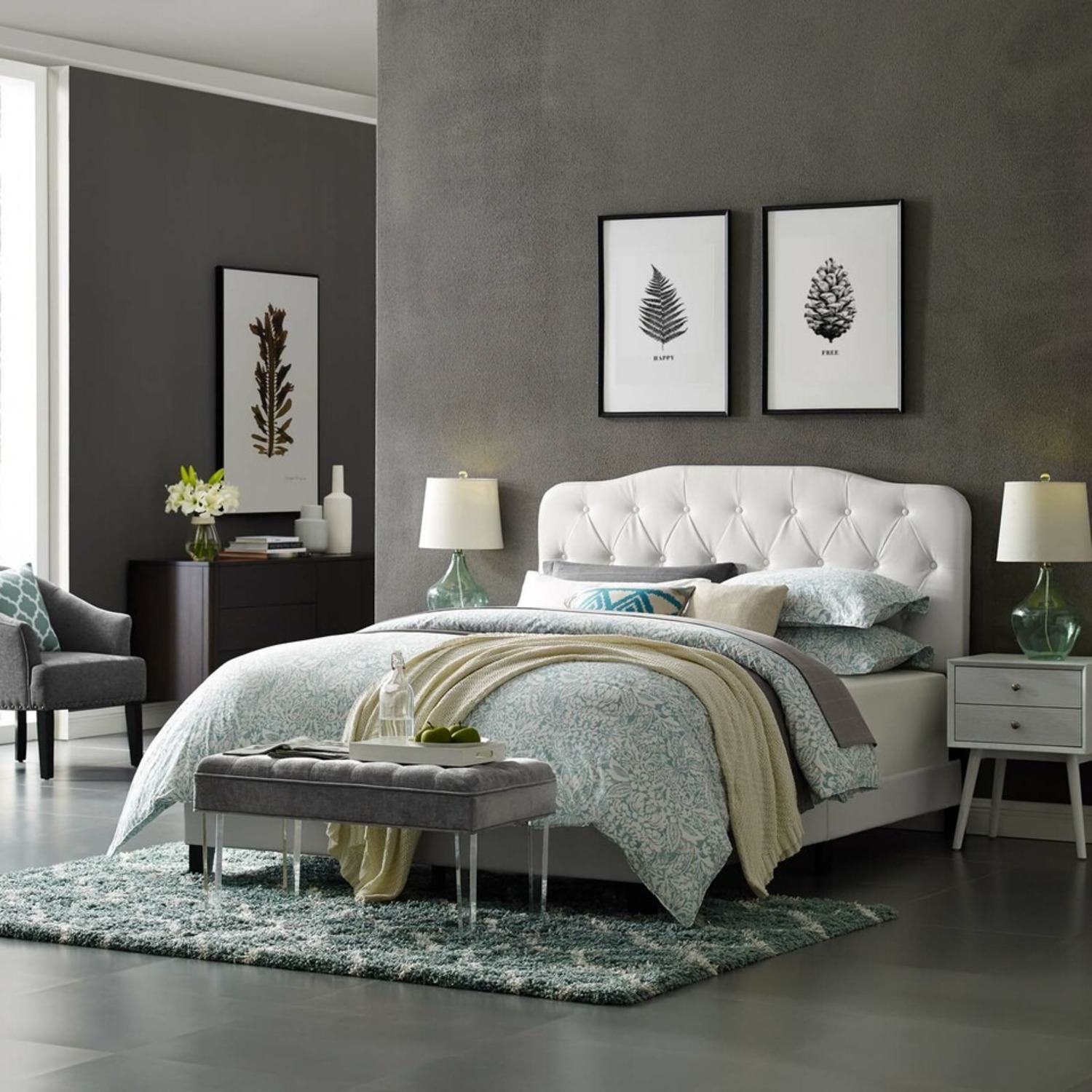 Full Bed In White Button-Tufted Faux Leather - image-4