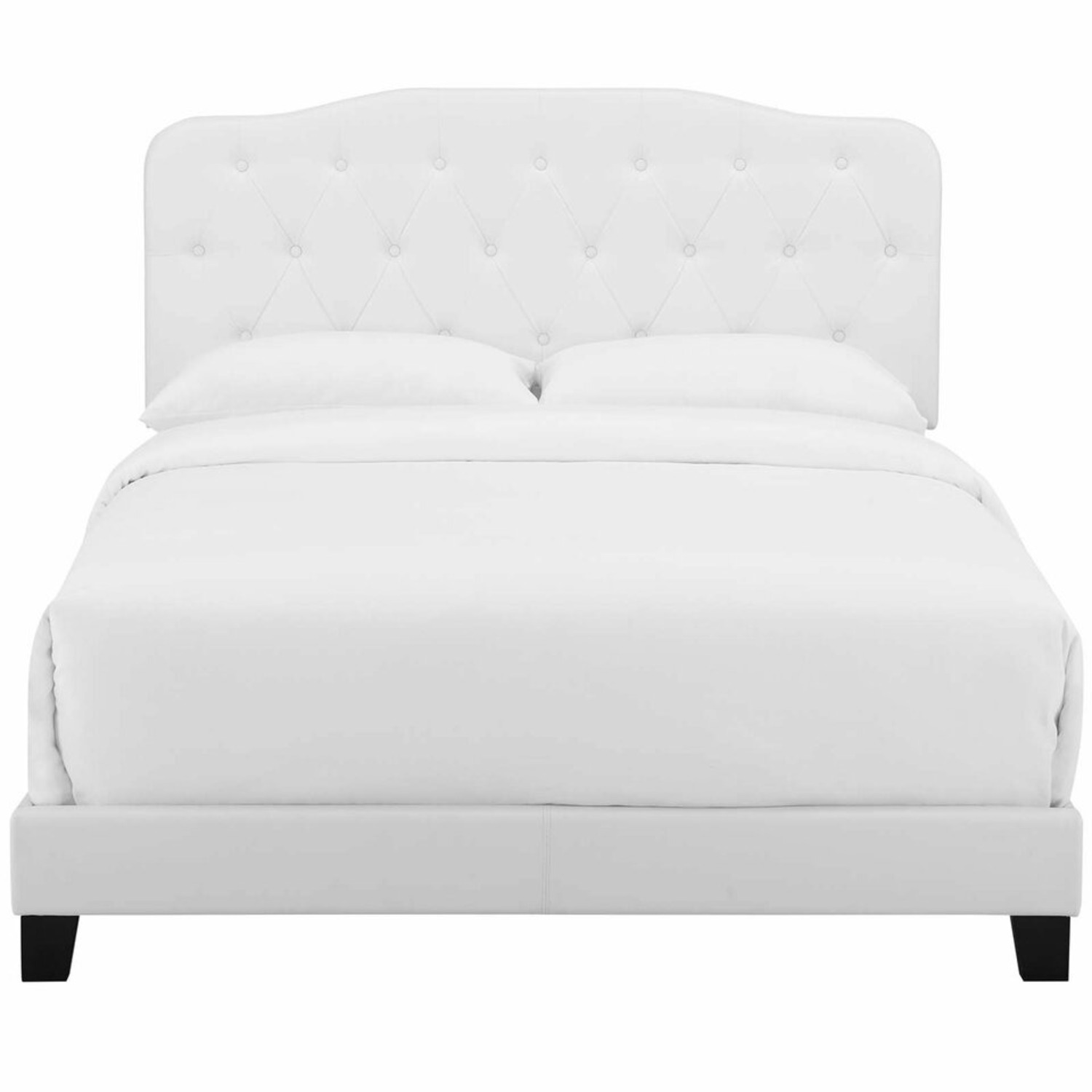 Full Bed In White Button-Tufted Faux Leather - image-3