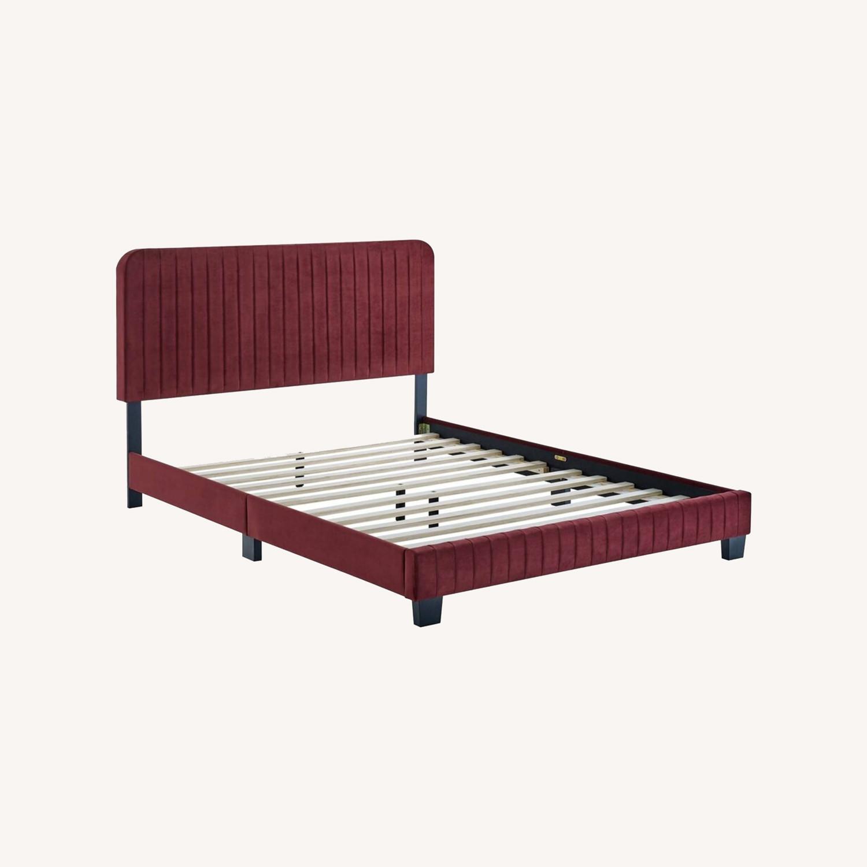 Full Bed In Maroon Velvet W/ Channel Tufted Detail - image-8