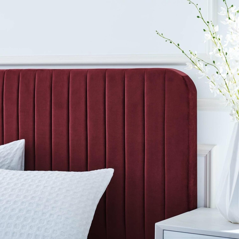 Full Bed In Maroon Velvet W/ Channel Tufted Detail - image-6