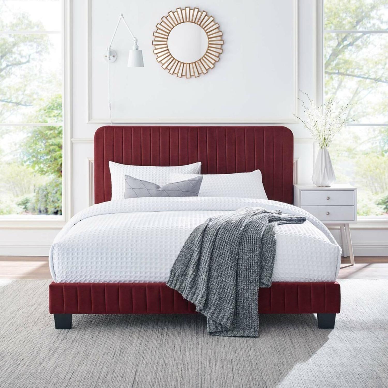 Full Bed In Maroon Velvet W/ Channel Tufted Detail - image-7