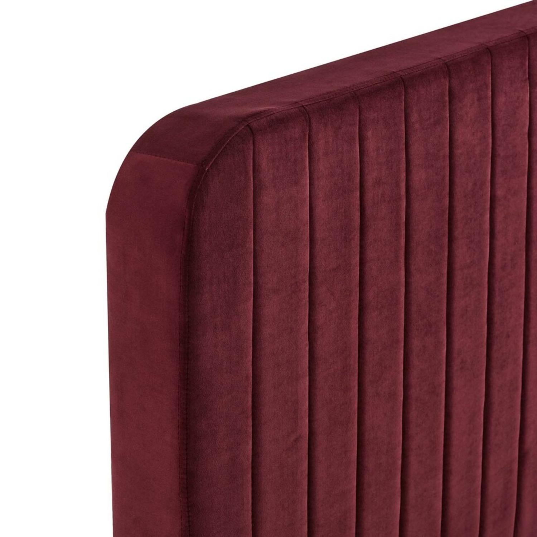 Full Bed In Maroon Velvet W/ Channel Tufted Detail - image-2