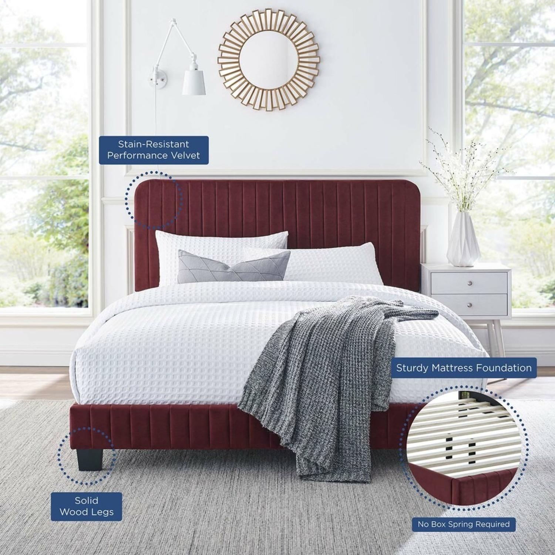 Full Bed In Maroon Velvet W/ Channel Tufted Detail - image-5