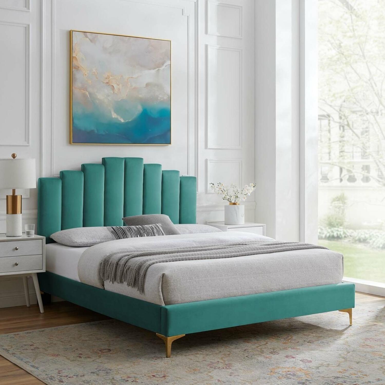 Modern Twin Bed In Teal Performance Velvet - image-12