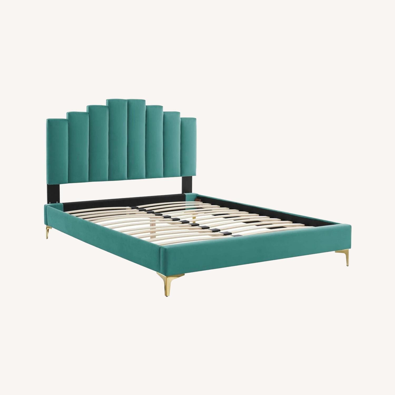 Modern Twin Bed In Teal Performance Velvet - image-13