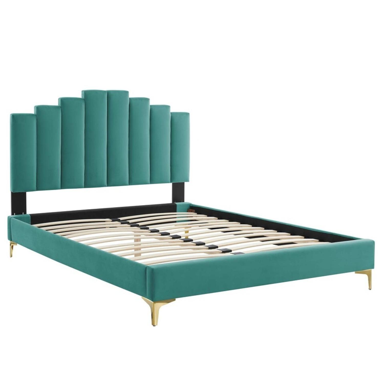 Modern Twin Bed In Teal Performance Velvet - image-1