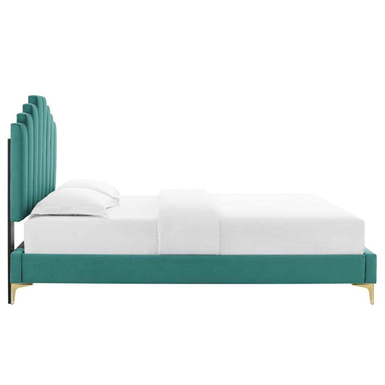 Modern Twin Bed In Teal Performance Velvet - image-2