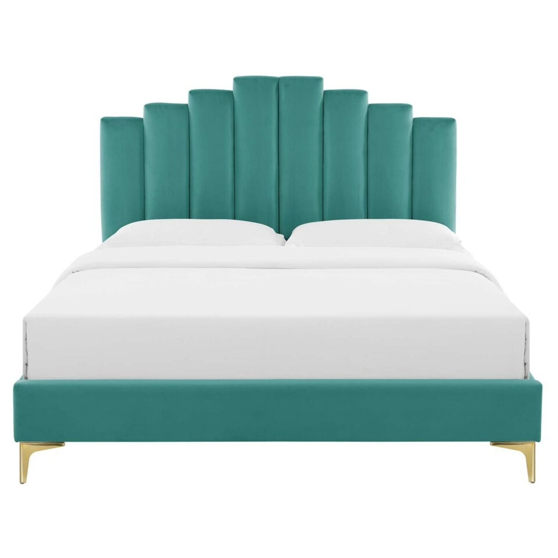 Modern Twin Bed In Teal Performance Velvet - image-3