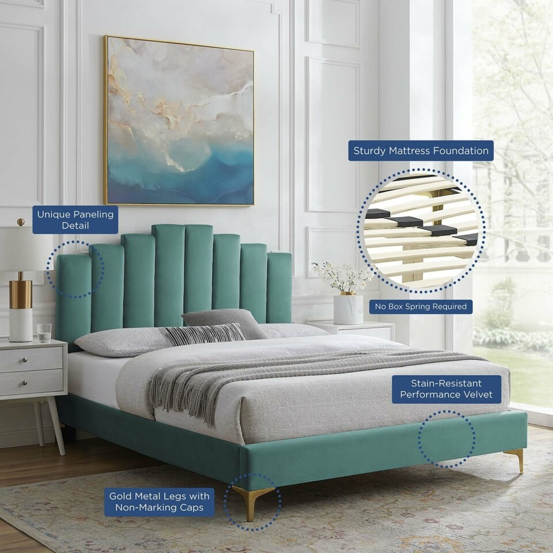 Modern Twin Bed In Teal Performance Velvet - image-11