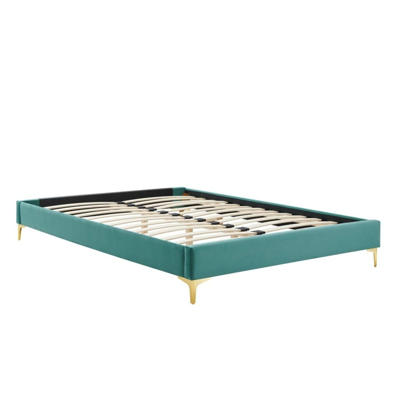 Modern Twin Bed In Teal Performance Velvet - image-5