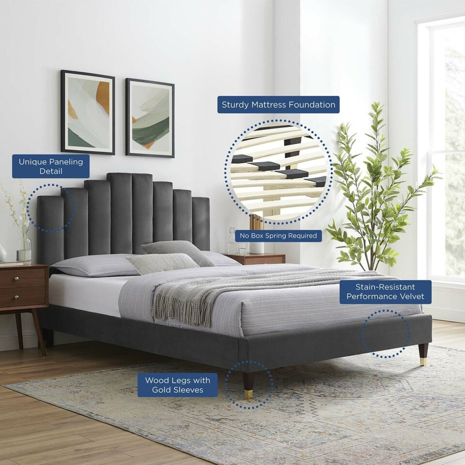 Twin Bed In Charcoal Fabric W/ Dense Foam Padding - image-11