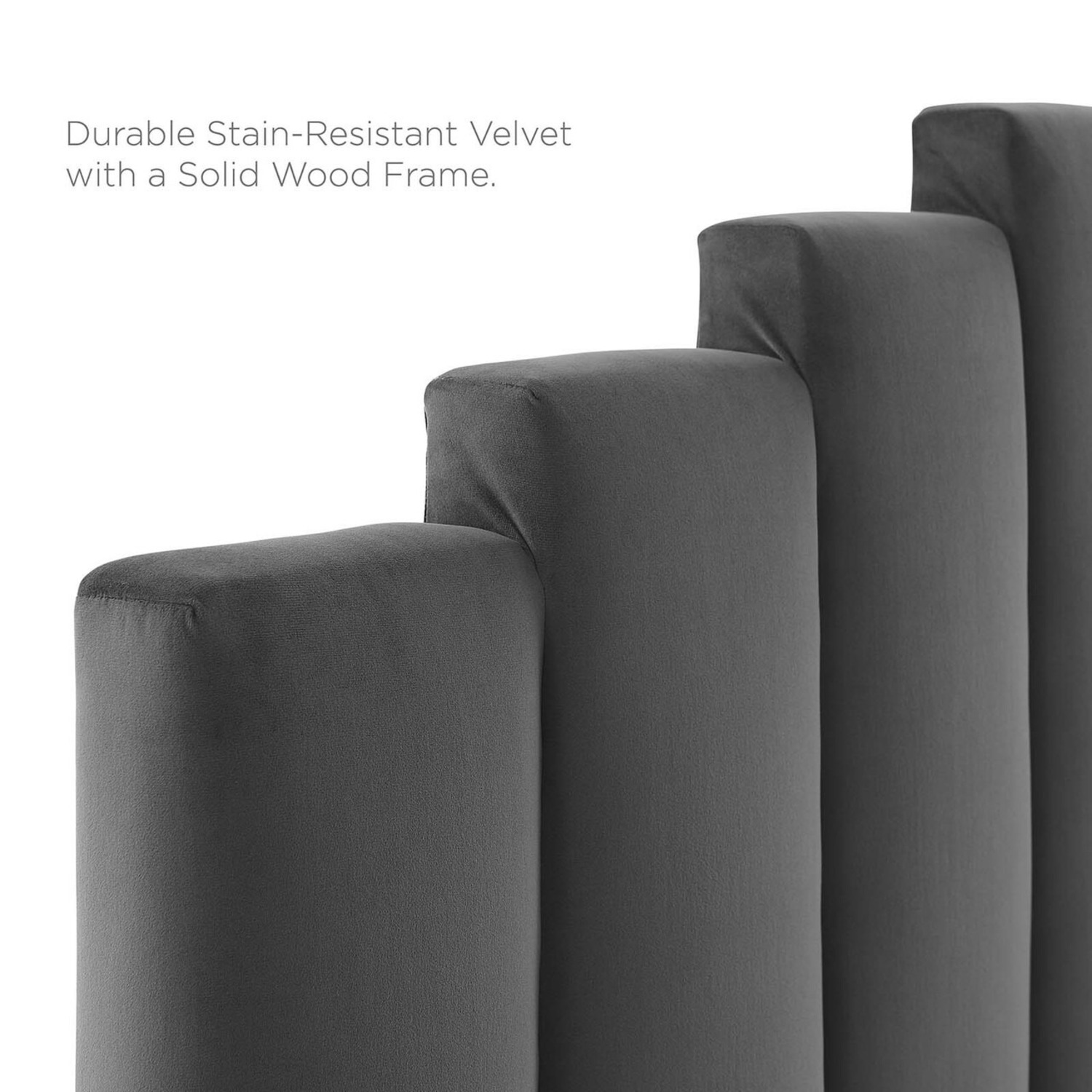Twin Bed In Charcoal Fabric W/ Dense Foam Padding - image-9