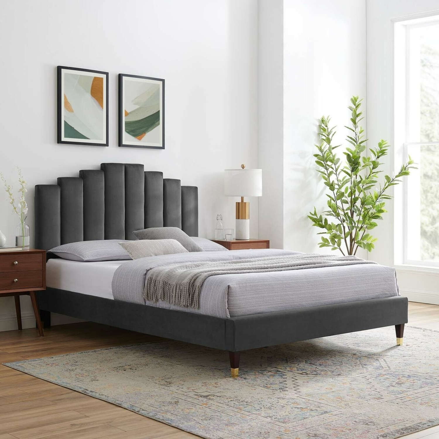 Twin Bed In Charcoal Fabric W/ Dense Foam Padding - image-12