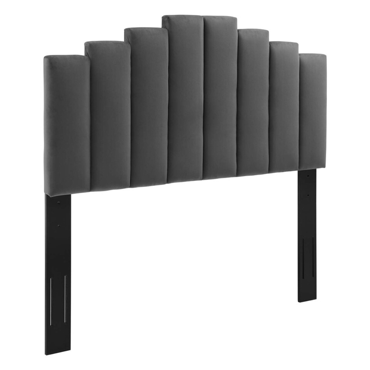 Twin Bed In Charcoal Fabric W/ Dense Foam Padding - image-6