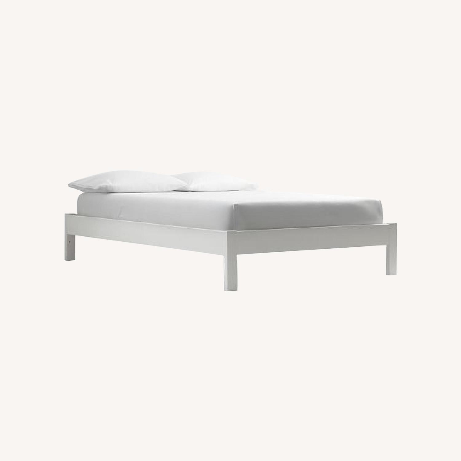 West Elm White Wooden Bed - image-0