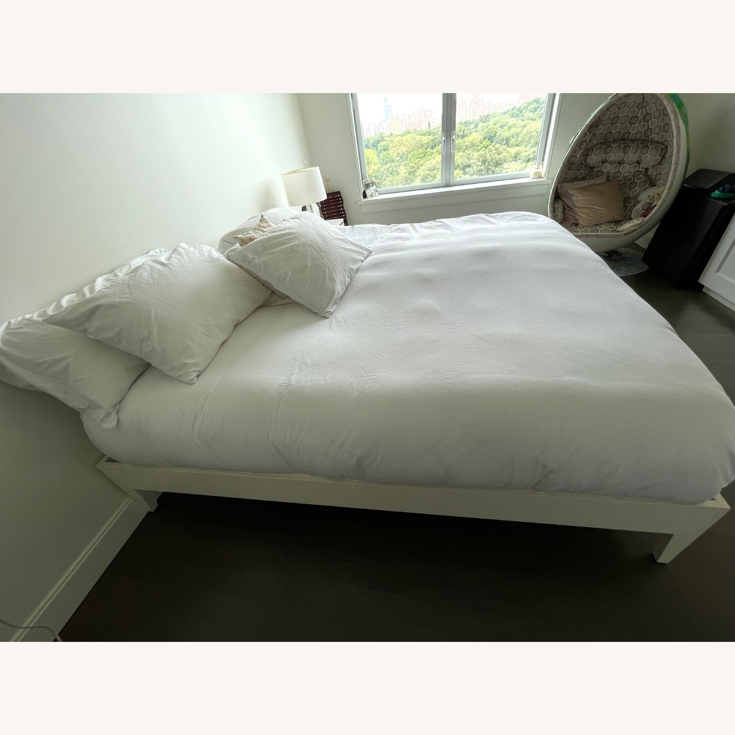 West Elm White Wooden Bed - image-1