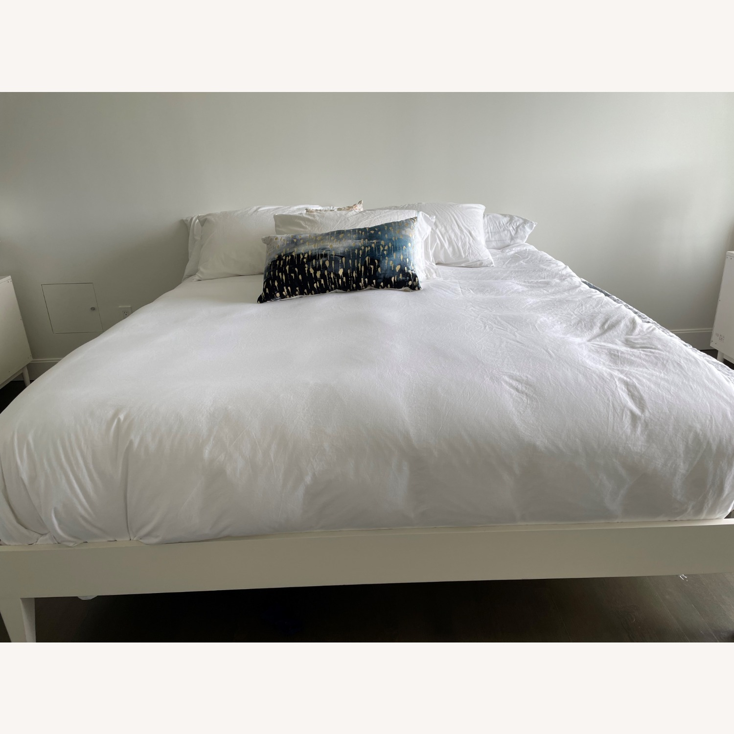 West Elm White Wooden Bed - image-2