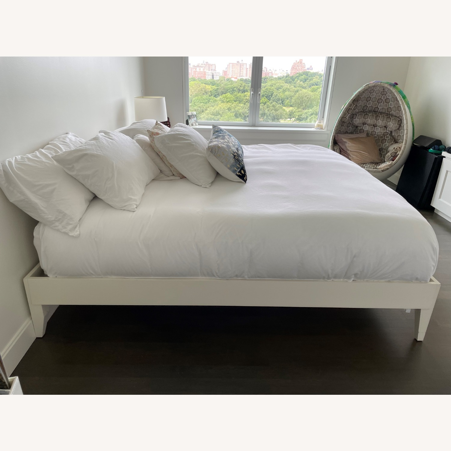 West Elm White Wooden Bed - image-3