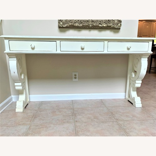 Used Ballard Designs Distressed Off White 3 Draw Console for sale on AptDeco