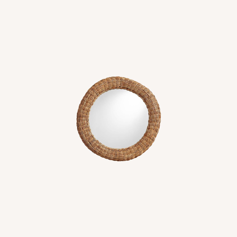 """Pottery Barn Delta Rattan Round Mirror 39"""" - image-0"""