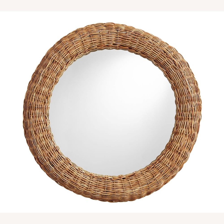 """Pottery Barn Delta Rattan Round Mirror 39"""" - image-3"""