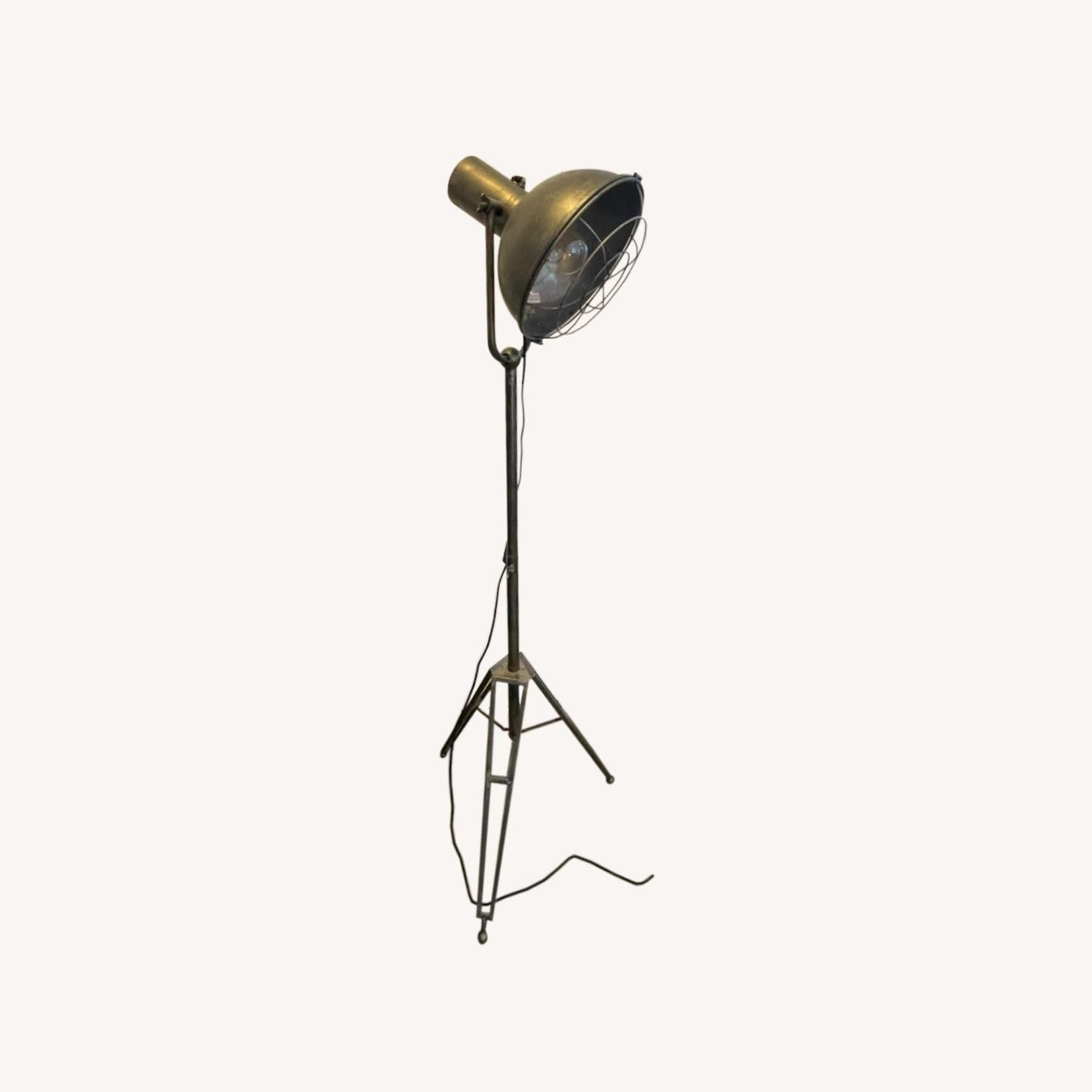 Caged Industrial Floor Lamp - image-0