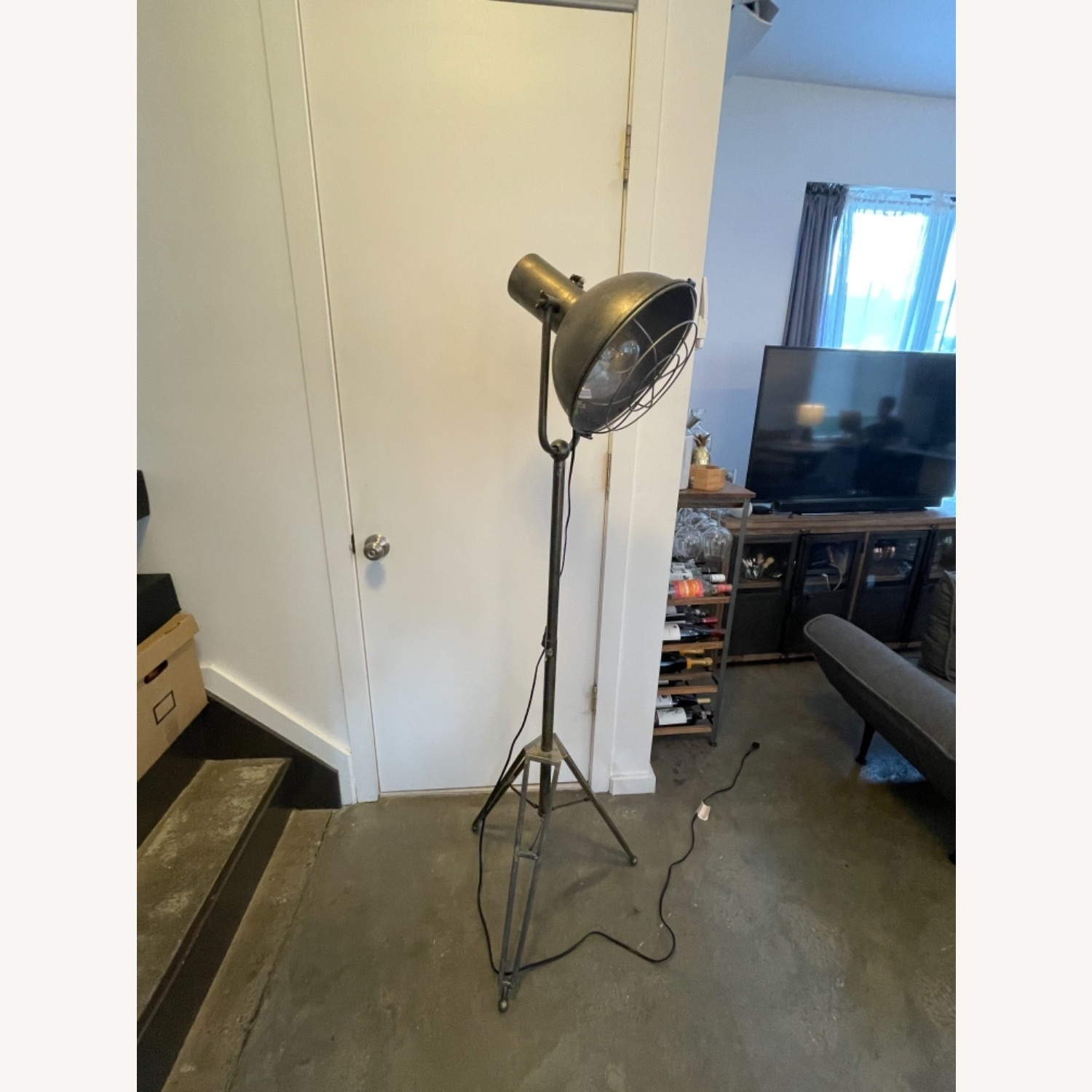 Caged Industrial Floor Lamp - image-6