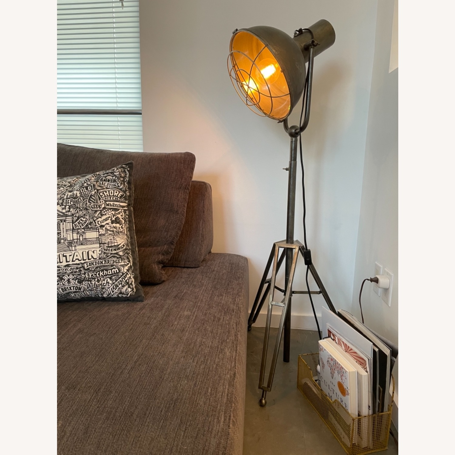 Caged Industrial Floor Lamp - image-1
