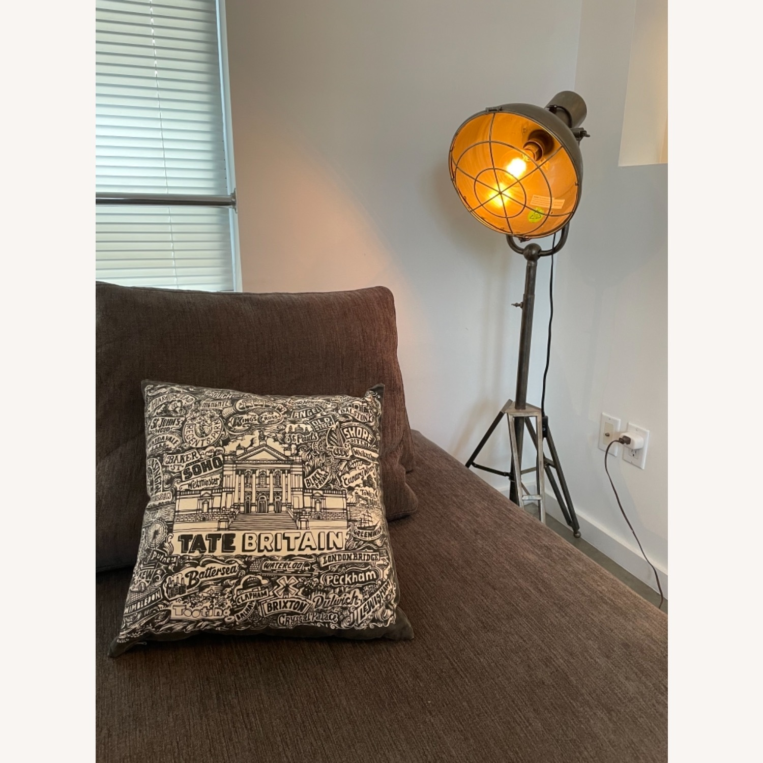 Caged Industrial Floor Lamp - image-2