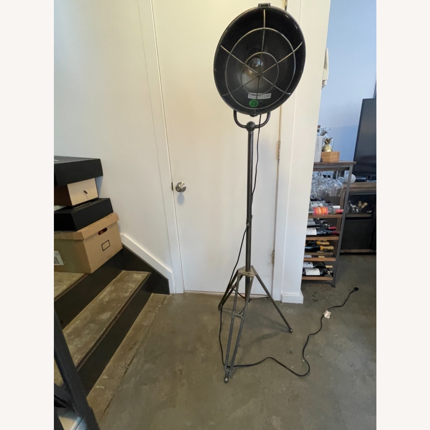 Caged Industrial Floor Lamp - image-7