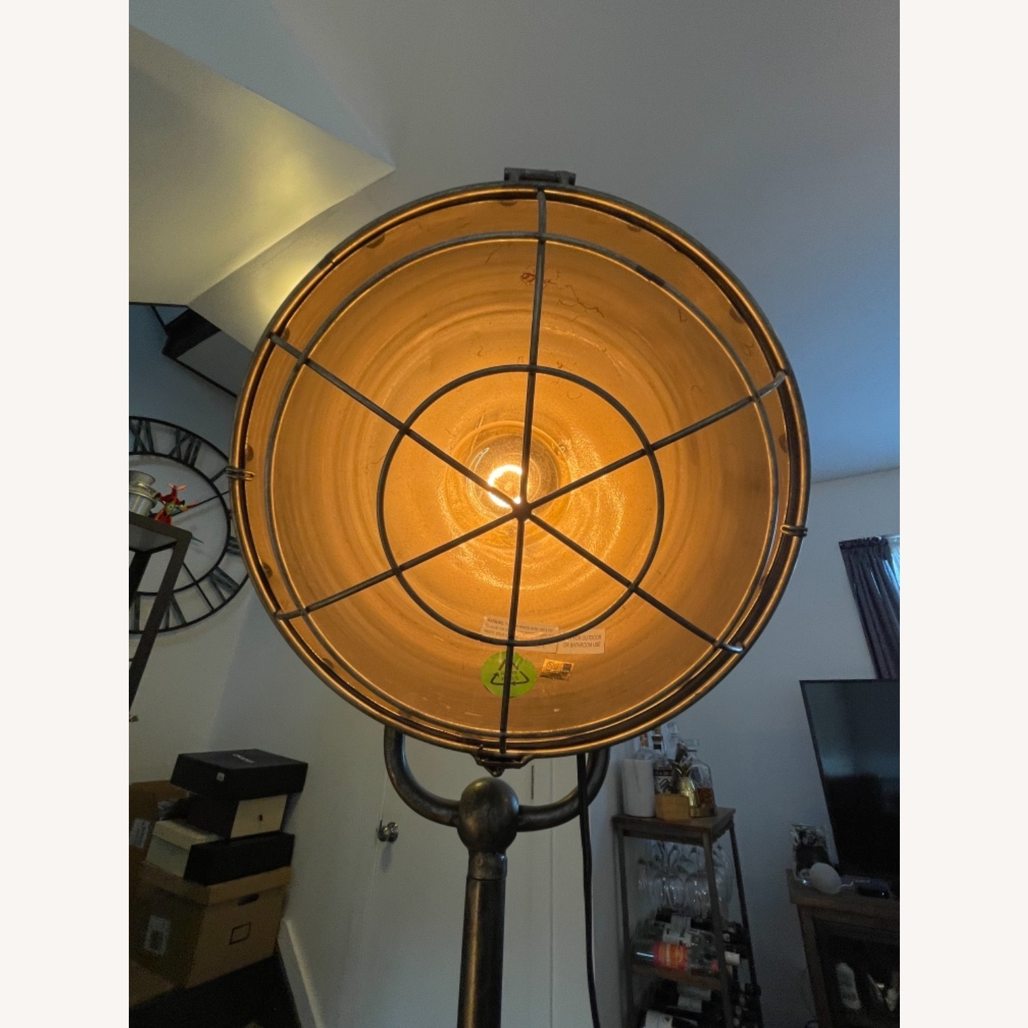 Caged Industrial Floor Lamp - image-3