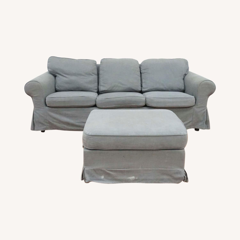 IKEA Gray Upholstered Sofa and Ottoman - image-0