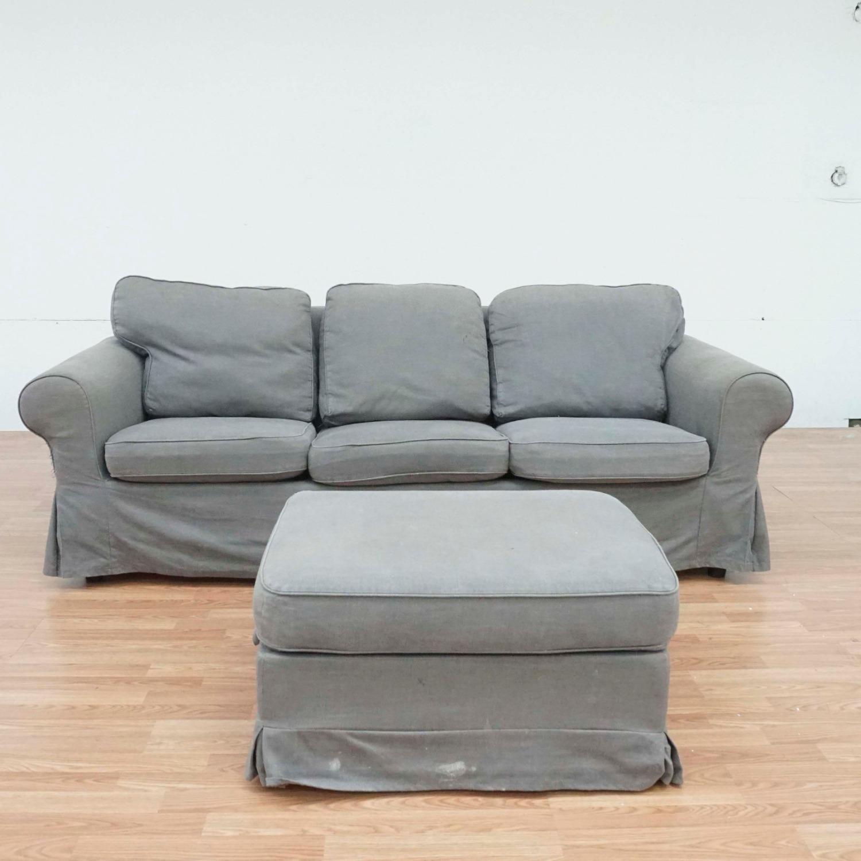 IKEA Gray Upholstered Sofa and Ottoman - image-2