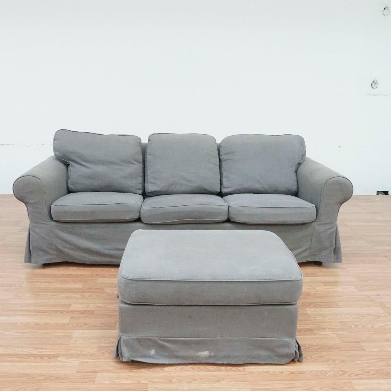 IKEA Gray Upholstered Sofa and Ottoman - image-1