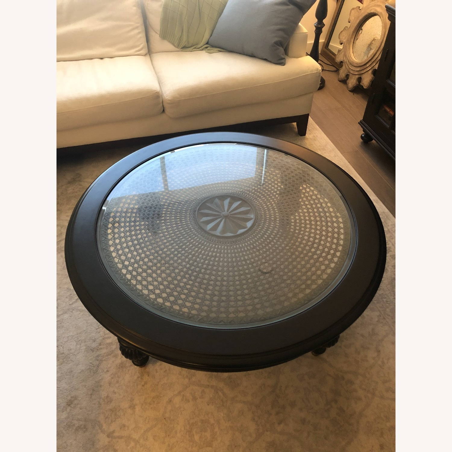 Ethan Allen Maya Round Coffee Table in Peppercorn - image-3