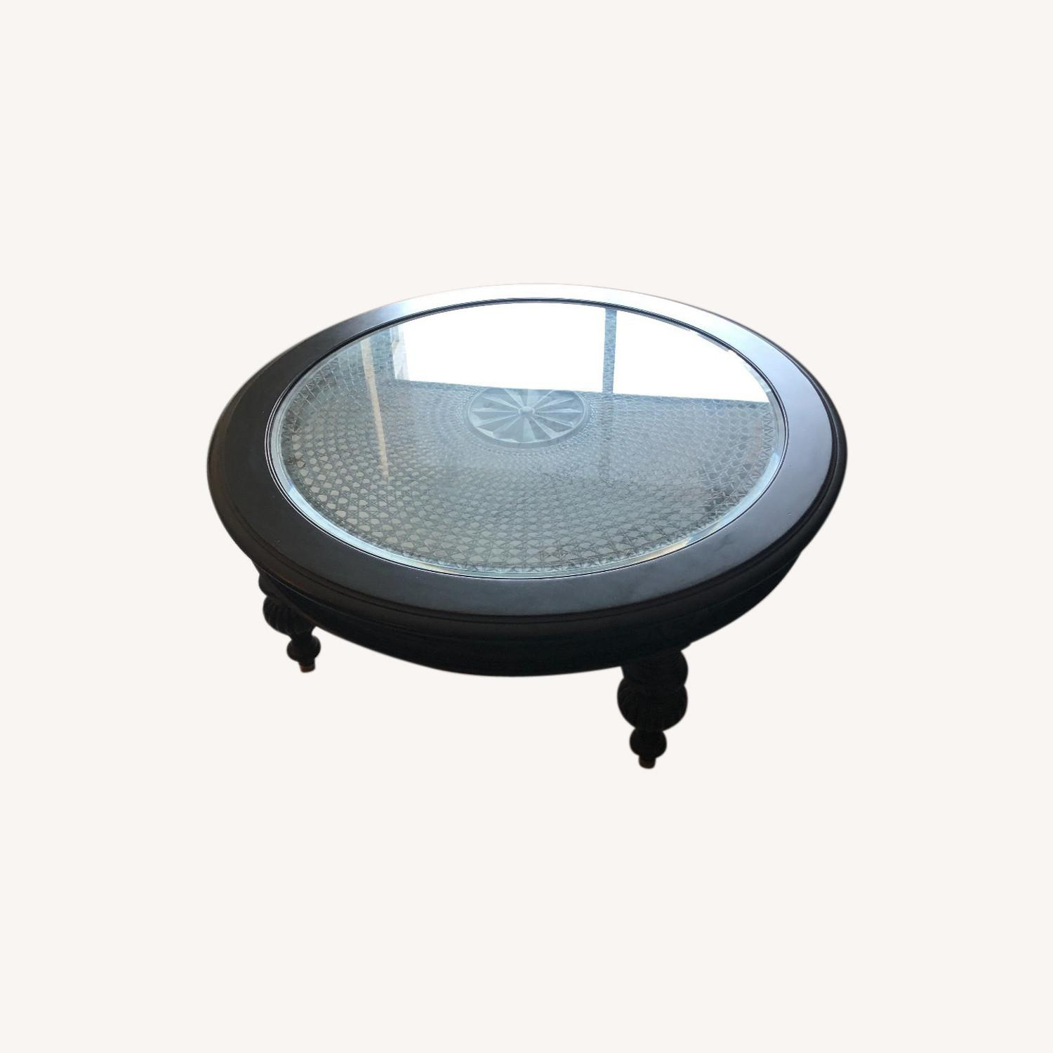 Ethan Allen Maya Round Coffee Table in Peppercorn - image-0